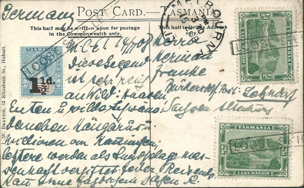 Melbourne 1435 (K) Tasmania von 1908